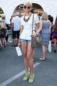 White Peplum Shirt, Jean Shorts, Neon Shoes