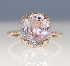 3.2ct cushion mauve blush ice peach champagne sapphire 14k rose gold diamond ring engagement ring on Etsy, $3,431.94 #eidelprecious
