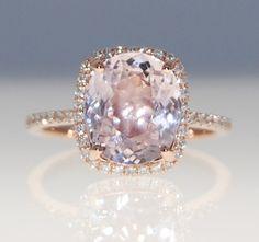 3.2ct cushion mauve blush ice peach champagne sapphire 14k rose gold diamond ring engagement ring on Etsy, $3,431.94