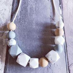 Teething Necklace 'Darcey' Grey, Nursing Necklace, Chewelry, Breastfeeding Necklace, Fiddle Beads, Autism, Sensory, Babywearing, Silicone