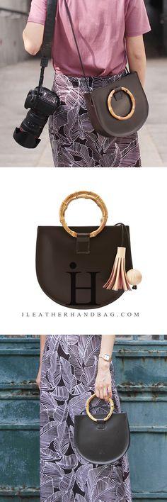 Leather Bamboo Hoop Handbag Shoulder Crossbody Bag Clutch Purse