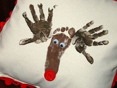 Handprint and Footprint Reindeer... Would be cute on a shirt! I did this every year when I was a kid! New tradition to start with Harper!