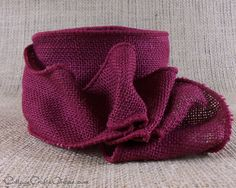 """Burgundy red 2 1/2"""" wide wired edge ribbon, 100% natural jute, by Offray Lion. Available in the Cottage Crafts Online shop, a world of ribbon and craft supplies, where we help your ideas become creations."""