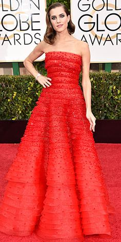 """Golden Globes 2015: ALLISON WILLIAMS Though this sparkling red Armani Privé has """"Allison Williams"""" written all over it, the star confesses to having a specific reason for picking it (aside from the fact it looks made for her): """"After Peter Pan I felt like looking like a real girl!"""" she says. Cartier jewels and sculpted waves complete the look."""