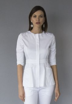 Poison Atelier luxury brand of medical apparel made in Los Angeles for doctors who finds wearing regular scrubs unacceptable. Spa Uniform, Scrubs Uniform, Dental Uniforms, Housekeeping Uniform, African Blouses, Lab Coats, Uniform Design, Medical Scrubs, Nursing Dress