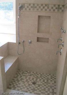 Unbelievable Useful Tips: Half Bathroom Remodel Modern bathroom remodel traditional spaces.Easy Bathroom Remodel Tile bathroom remodel tips wall colors.Simple Bathroom Remodel Back Splashes. Handicap Bathroom, Master Bathroom Shower, Shower Niche, Bathroom Layout, Small Bathroom, Bathroom Gray, Shower Seat, Modern Bathroom, Half Bathroom Remodel
