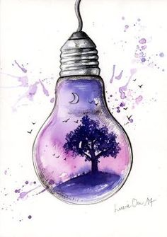 Inside Light von LucieOn - Ink Art by LucieOn - Art Drawings Sketches Simple, Pencil Art Drawings, Cute Drawings, Drawing Ideas, Colorful Drawings, Light Bulb Art, Light Bulb Drawing, Galaxy Art, Doodle Art