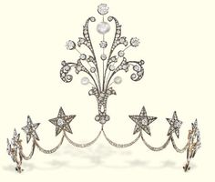 AN ANTIQUE DIAMOND AND PEARL TIARA  Designed as a series of eight old-cut diamond stars to the central diamond and pearl spray, mounted in silver and gold, pearls untested, circa 1860, 11.0 cm high, with French assay mark for gold, in original fitted blue leather case by Guillote, 20 Rue Thérèse, Paris