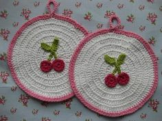 Cherries on potholders ~ we had these on the kitchen wall when I was growing up