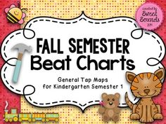 Fall Semester {Beat Charts}... 4 picture charts for Kindergarten music class, cats, dogs, hammers, engines, bees, bears, etc.