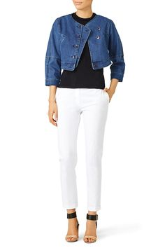 """[Picked from Rent The Runway] Blue denim (100% cotton). ¾ sleeves. Front button closure with side pockets. 16"""" from shoulder to hemline. Imported. $87.00 Buy It Now !"""