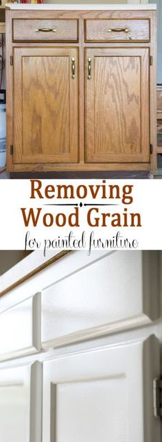How to remove wood grain painted furniture- Removing Wood Grain Texture -How to get a nice smooth finish when painting cabinets or furniture that has a strong wood grain. Part 1 of a 2 part series on painting oak cabinets bought off of craigslist. Old Kitchen Cabinets, Kitchen Paint, Resurfacing Kitchen Cabinets, Kitchen Drawers, Furniture Makeover, Diy Furniture, Furniture Stores, Kitchen Furniture, Bedroom Furniture