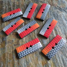 Handmade Polymer clay rectangle buttons
