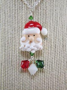 Santa Necklace Curly Q Santa Lampwork Pendant by thepinkmartini, $25.00
