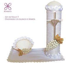 Kit de vela para #bautizo # 7 Color blanco (tambien disponible en marfil) #burbvus