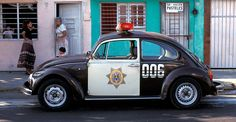 Volkswagen Beetle police car on the street in Veracruz, Mexico