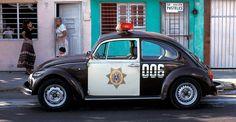 Volkswagen Beetle police car on the street in Veracruz, Mexico