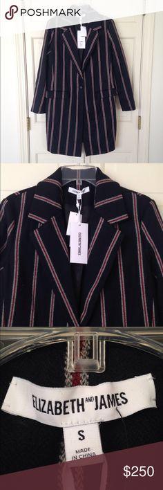 Women's navy Iris Striped Boyfriend Coat! Chic Women's navy Iris Striped Boyfriend Coat! Elizabeth and James Jackets & Coats Pea Coats