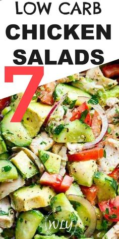 7 healthy low carb chicken salads that are perfect for making weekly meal prep easier and are great healthy lunch ideas for work. 7 easy chicken salad recipes for each day! Perfect for a ketogenic diet paleo and sugar free. Low Carb Chicken Salad, Salad Recipes Low Carb, Low Carb Chicken Recipes, Chicken Salad Recipes, Keto Recipes, Recipe Chicken, Healthy Chicken Salads, Lunch Recipes, Salad Recipes Healthy Lunch