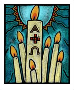 "Paschal Candle | Catholic Christian Religious Art - Artwork by Julie Lonneman - From your Trinity Stores crew, ""Allow holy images to make you smile!"""