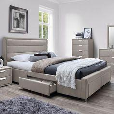 Mobexpert pat tapitat cu 4 lazi depozitare, 160x195cm, somiera inclusa bej Caren