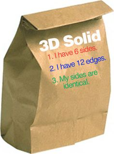 Students take home a paper bag and place a 3D object inside, and write 3 clues on the outside of the bag.
