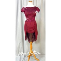 Encore Costume Couture |  Burgundy Floral Lace Dress with Sheer Skirt/Lycra Brief - Rhinestones - Size AM - Lyrical - Costumes