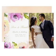 Chic Blossom Watercolor Floral Photo Love & Thanks Card - floral style flower flowers stylish diy personalize