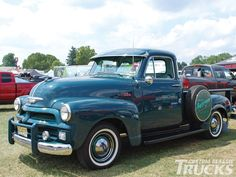 1954 Chevy || Chevrolet Pick-up Truck with white walls, windshield visor, & spare tire | blue