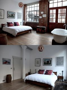 ack, I think this is my perfect room, brick, high ceiling, wood doors, nice bed, copper light...