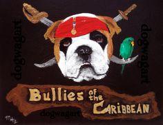 English Bulldog Art Painting Signed Original Bullies by dogwagart