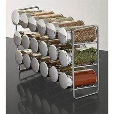 Store your spice collection on our attractive Chrome 18-Bottle Spice Rack.  Three tiers offer storage for the 18 bottles included.  Each features a plastic sifter.