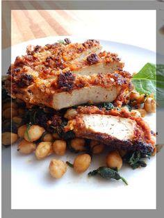 ...Soul Vood kocht & bloggt...: Panierter BBQ Tofu, Kichererbsen & Spinat