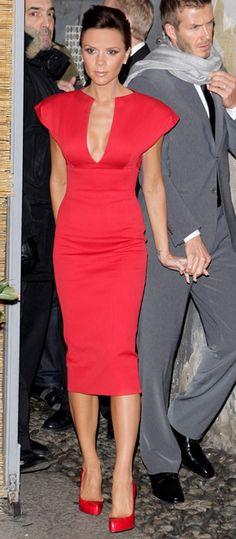 Victoria Beckham red dress and red pumps