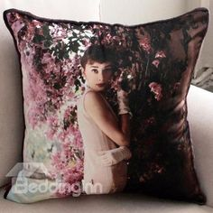 New Arrival Beautiful Audrey Hepburn and Flowers Print Throw Pillow  @bedding inn