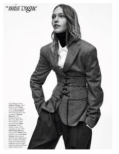 Sasha Pivovarova Looks Sharp in Menswear Inspired Styles for Vogue Paris - withoutstereotypes
