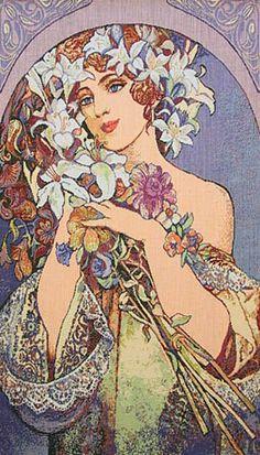 Alphonse Mucha- Flora poster illustration, Art Nouveau.