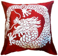 "Artiwa Asian Throw Decorative Silk Pillow Cover with Dragon 18""x18"" (Red / Cream) - Gift for Christmas Recommend Artiwa http://www.amazon.com/dp/B0090BI2NW/ref=cm_sw_r_pi_dp_.Bdlvb0CYE6SM"