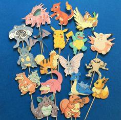 Pokémon cupcake toppers, Pokémon cake toppers, Pokémon party, Pikachu cupcake toppers,  Pikachu toppers, Pokemon by Fairfable on Etsy https://www.etsy.com/listing/486465433/pokemon-cupcake-toppers-pokemon-cake