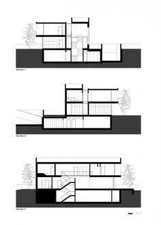 section plan of casa modern house stairs design by Atelier Nuno