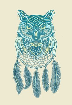 Midnight Dream Catcher Art Print on Society6 #owl #owls #dreamcatcher