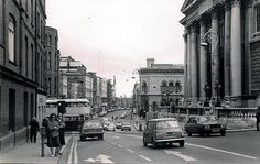 """Looking down dame street in he Old Pictures, Old Photos, Photo Engraving, Dublin City, Dublin Ireland, Northern Ireland, Buses, Revolution, The Good Place"