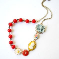 Yellow Cameo Necklace.