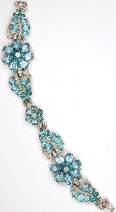 Mazer Pave Rhinestone and Aquamarine colored Flowers and Leaves Bracelet, 1941 Aquamarine Jewelry, Gemstone Jewelry, Jewelry Box, Jewelry Bracelets, Jewelry Accessories, Bangles, Necklaces, Antique Jewelry, Vintage Jewelry