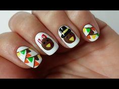 Easy Thanksgiving Turkey Nail Art Design!!! - YouTube