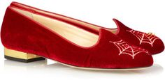 ShopStyle: Charlotte Olympia Charlotte's Web embroidered velvet flats