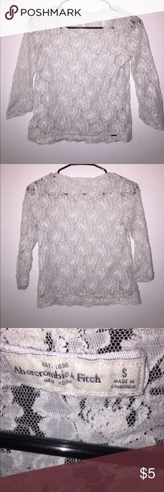 White Full Lace Crop Top Full lace 3/4 sleeve crop top. Abercrombie & Fitch Tops Crop Tops