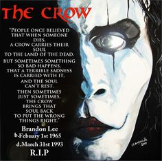 Brandon lee, star of the movie. Crow Movie, I Movie, Brandon Lee, Bruce Lee, System Of A Down, Horror Films, Horror Art, Radiohead, The Crow Quotes