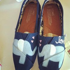 Hand painted elephant toms by Handpaintedbykaitlyn on Etsy, $80.00