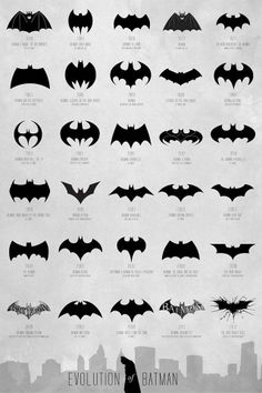 The evolution of the Batman logo from 1940s to present.